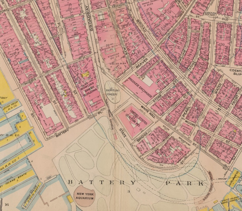 Bowling Green and vicinity in 1911. New York Public Library.