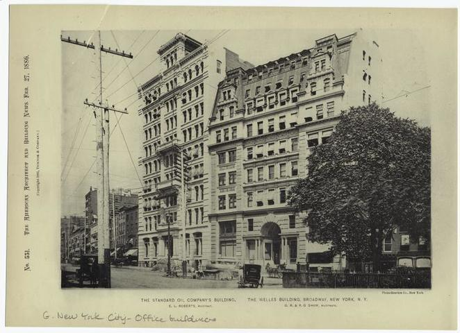 Welles Building (right). Photograph 1886. New York Public Library.