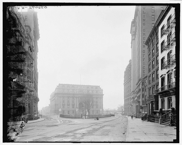 View toward Custom House from Broadway. Photograph c. 1910. Library of Congress.