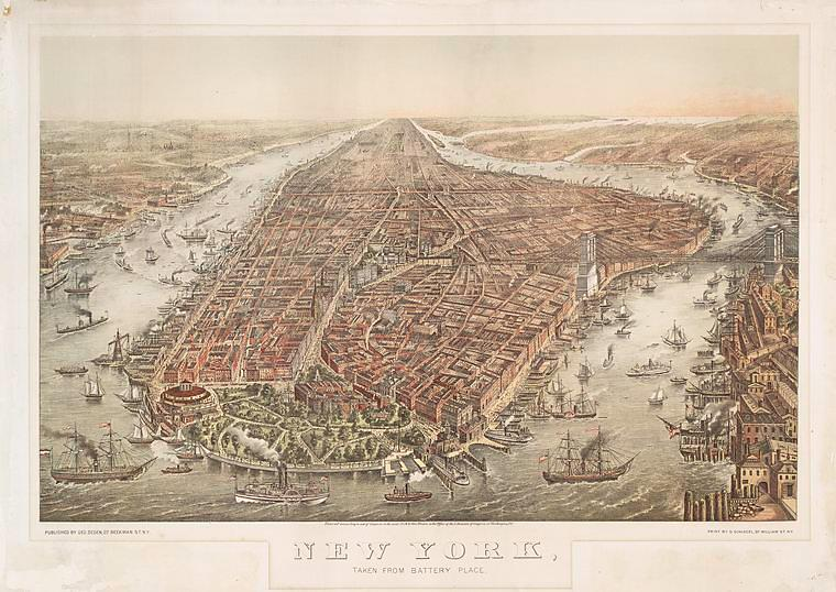 View of Manhattan in 1874. New York Public Library.