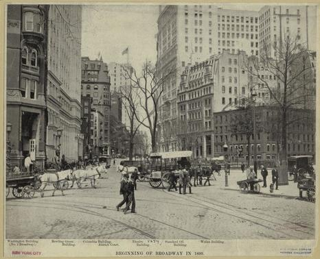 View into Bowling Green from the opening to Battery Park. Photograph c. 1899. New York Public Library.