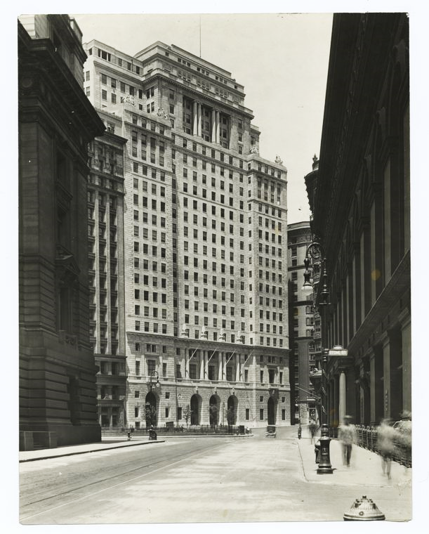 View of the Cunard Building from Whitehall Street. Photograph c. 1922. New York Public Library.