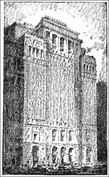Hugh Ferriss. The Cunard Building. From The Century, September 1921.