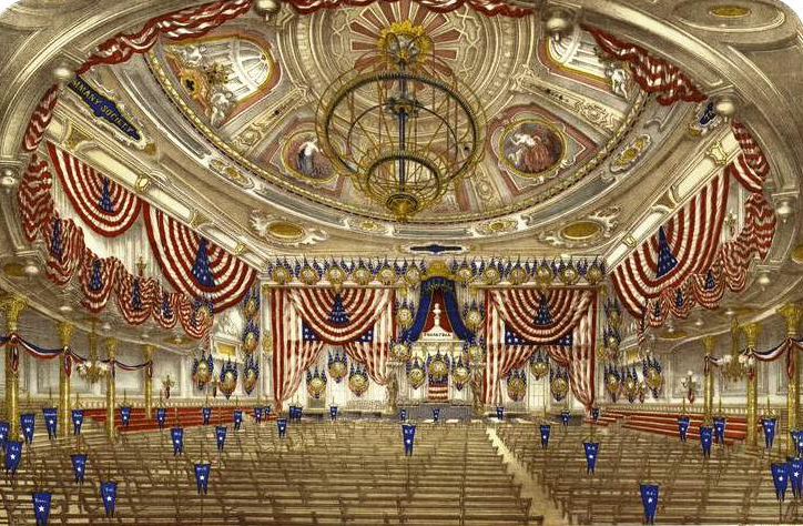 Tammany Hall Interior decorated for the 1868 Democratic National Convention. Source: New York Pubic Library via Wikimedia Commons.