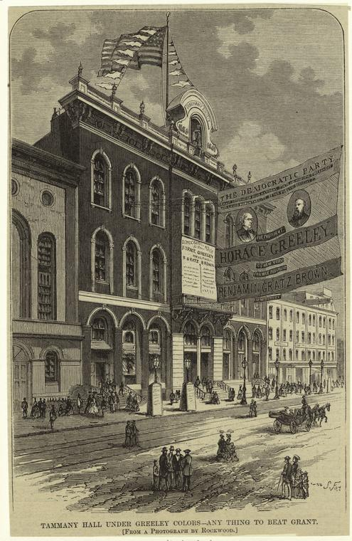 """""""Tammany Hall under Horace Greeley's Colors: Any Thing to Beat Grant."""" NYPL digital collection, http://digitalcollections.nypl.org/items/510d47e1-064f-a3d9-e040-e00a18064a99"""