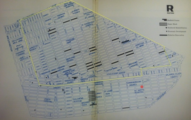 The neighborhood's boundaries according to the Bedford-Stuyvesant Restoration Corp.'s 1968 annual report.