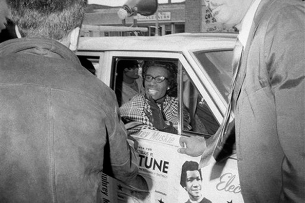 Chisholm canvassing at the Ebbets Field Apartments in 1968.