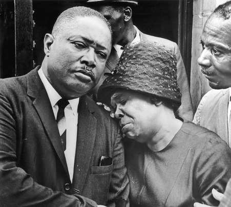 James Powell's aunt breaks down in tears outside Union Baptist Church in Harlem. Photo by Marion S. Trikosko. Library of Congress, Prints and Photographs Division, U.S. News & World Report Magazine Collection (LC-U9-12259 frame 4).