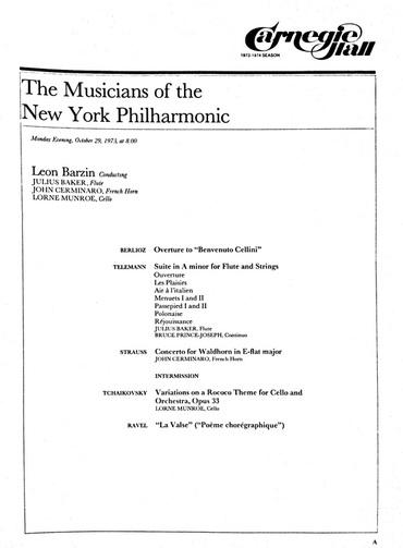 Concert Program, 29 October 1973 - A Special Emergency Strike Fund Concert in Carnegie Hall.