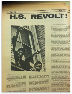 In a 1970 issue of Palante!, the Young Lords' bi-monthly publication, Richie Peréz links the actions at Benjamin Franklin High School in East Harlem to the anti-imperial struggle being waged in Puerto Rico and the Third World more broadly.