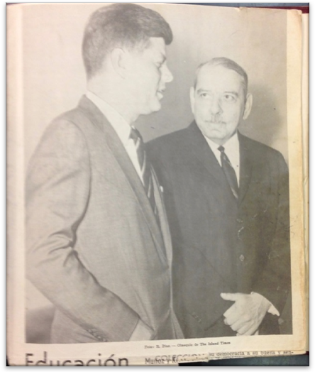 U.S. President John F. Kennedy and Puerto Rico's first elected governor, Luís Muñoz Marín, on the cover of the Puerto Rican The Department of Public Instruction's periodical Educación.