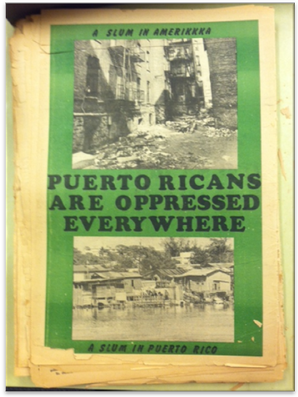 This image from Palante! visualizes the conceptualization of the links between Puerto Ricans on the island and mainland