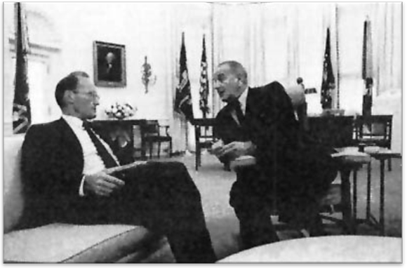 McGeorge Bundy of the Bundy Panel on School Decentralization, here pictured with President Lyndon Johnson, played a key role in the I.S. 201 crisis and the decentralization of the NYC Department of Education as President of the Ford Foundation. Yet as Johnson's former National Security Advisor and an influential advocate of intervention in Vietnam, he likewise brought his foreign policy experience and ideas about modernization theory, development aid, and quelling anti-imperial nationalist movements to the community control battles of New York.