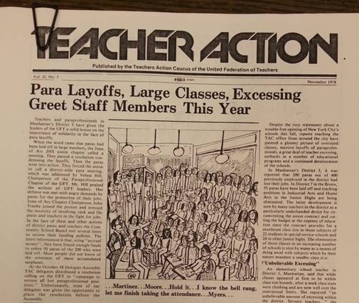 """November 1978 Issue of """"Teacher Action,"""" the newsletter of the left-leaning Teacher Action Caucus (TAC) of the UFT, urging the UFT to take a stronger stand on layoffs. (Anne Fillardo Collection, Tamiment Library and Robert F. Wagner Labor Archives, NYU)"""