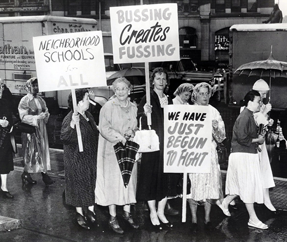A group of Glendale-Ridgewood parents protest in front of City Hall in June 1959