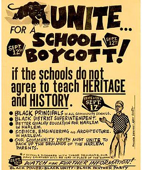 A 1967 Black Panther Party poster advocating for a school boycott. (Black New Yorkers for Educational Excellence)