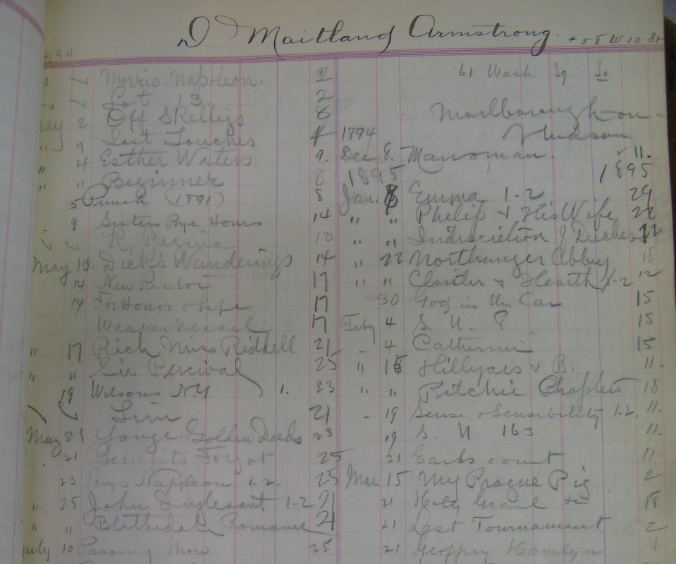 Circulation Records for the Armstrong Family 1894-1896, Institutional Archive, New York Society Library. For full-size images of these records and more from this period, see the Flickr Gallery here: https://www.flickr.com/photos/nysl/sets/72157669311703411/.