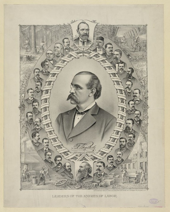 Terence V. Powderly, center, with leaders of the Knights of Labor. His predecessor, Uriah Stephens, is at the top, center, and P. J. McGuire is to Stephens's left. Lithograph by Kurz and Allison, circa 1886. Library of Congress.