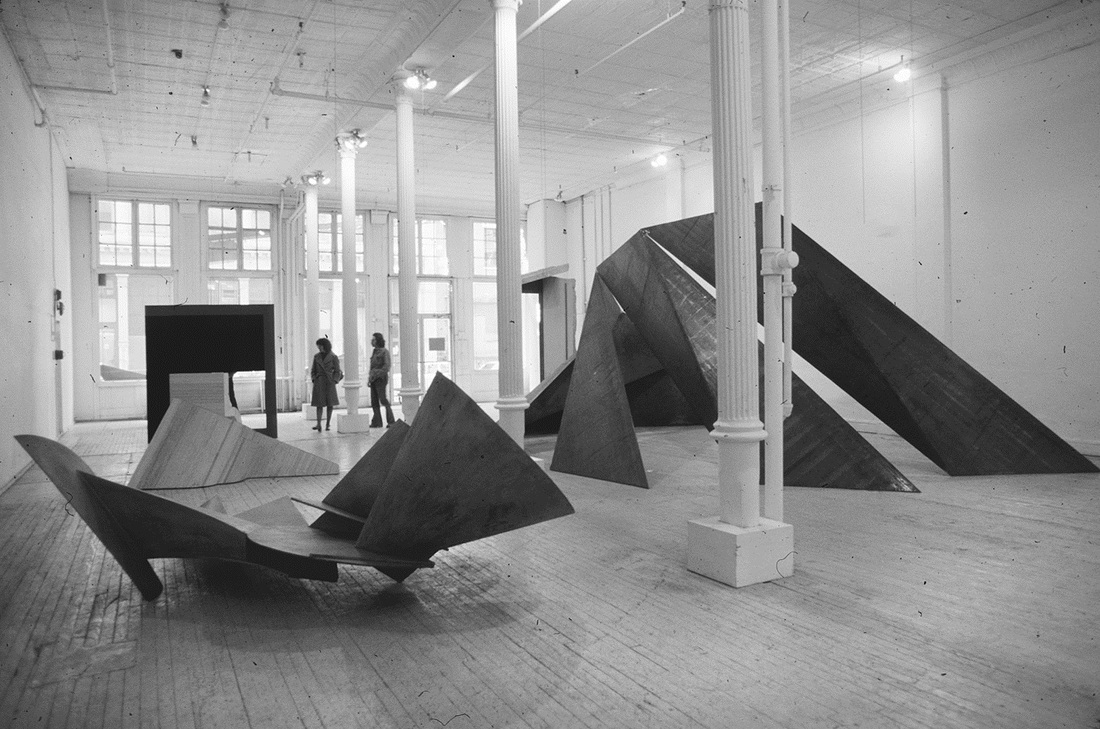 SoHo gallery exhibition installation, by Robin Forbes, 1976. (Reproduced by permission from Archives of American Art, Smithsonian Institution.)