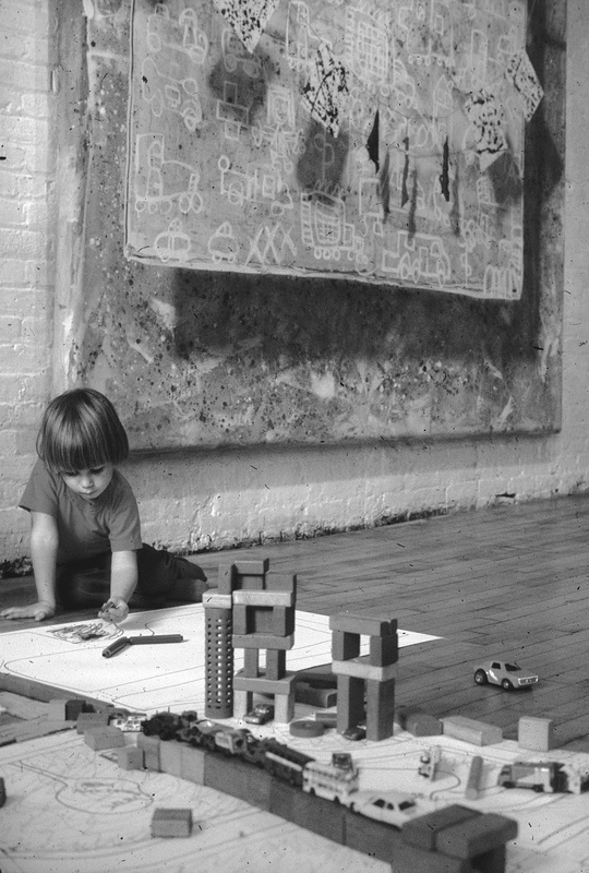 Child playing with blocks in a loft, by Robin Forbes, 1976. (Reproduced by permission from Archives of American Art, Smithsonian Institution.)