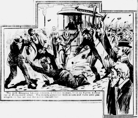 Rioters dragging a woman out of an 8th Avenue streetcar and beating her during the Tenderloin Race Riot. From the New York World.