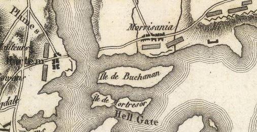 """John Marshall, """"Ile de New York, Partie de Long-Island ou de I'le Longue, et Positions des Armees Americaine et Britannique, Apres le Combat livre sure Hauteurs le 27 Aout 1776"""" (1807)."""