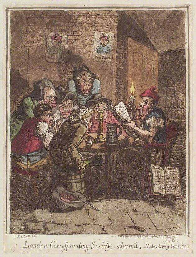 "This image, titled ""London Corresponding Society, alarm'd,"" and published in London in 1798, captures the transatlantic fears of conspiracy that democratic clubs inspired throughout the 1790s. The author's portrayal of the club members as a disfigured gaggle, huddled under candlelight and a portrait of the radical Thomas Paine, illustrates the degree to which many in England and the United States associated democratic societies with anarchy, rabble, and degradation. Reproduced with permission from the National Portrait Gallery, London."