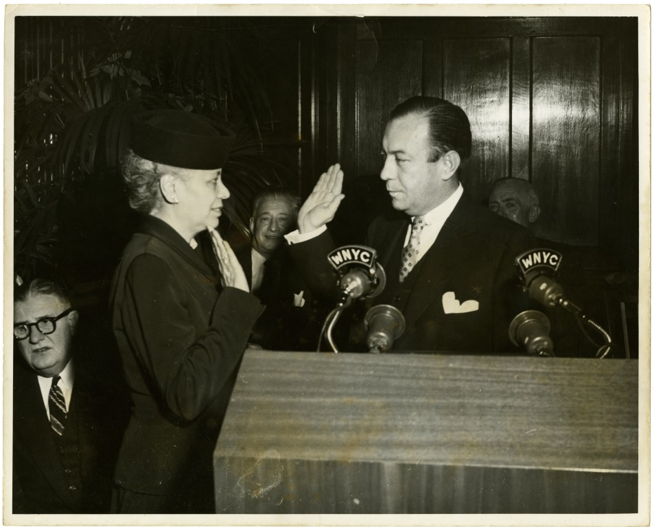 Anna Arnold Hedgeman being sworn in to Robert F. Wagner Jr.'s mayoral cabinet. Source: National Afro-American Museum and Cultural Center
