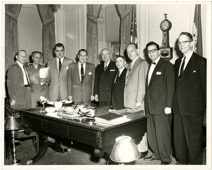 Hedgeman stands in the office of Mayor Robert Wagner with the former President Harry S. Truman. Courtesy National Afro-American Museum and Cultural Center