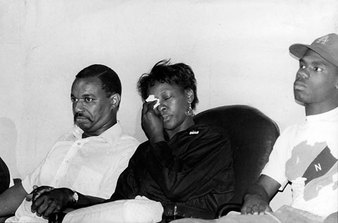 Yusuf Hawkins's parents, three days after his murder. He was shot to death after being chased by a mob of white youths in a racially motivated killing