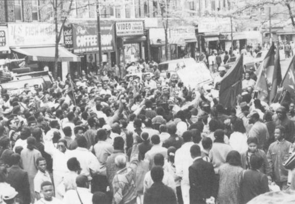 Black New Yorkers demonstrate in front of two Korean grocery stores in Brooklyn as part of a continuing boycott