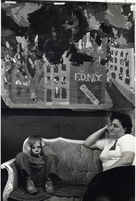Residents decorated the firehouse, took turns sleeping in it, and held communal meals and dances there, turning it into a community center. The local action committee documented the deaths of eight residents in fires following the removal of Engine 212, and activists used People's Firehouse as a venue for hearings to bloster the passage of state legislation blocking further layoffs in the New York City police and fire departments. Photograph by, and courtesy of, Janie Eisenberg.