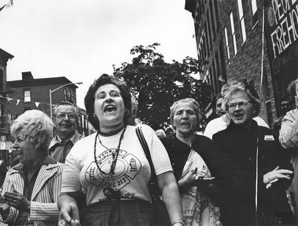 Women were prominent participants in the struggle over People's Firehouse; however, it took the leadership of an outside organizer, Jan Peterson, to involve them in explicitly feminist activities. Photograph by, and courtesy of, Janie Eisenberg.