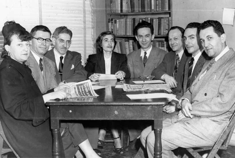 The first eight teachers fired by the Board of Education. From left: Alice Citron, Abraham Feingold, David Friedman, Celia Zitron, Abraham Lederman, Mark Friedlander, Isadore Rubin, Louis Jaffe