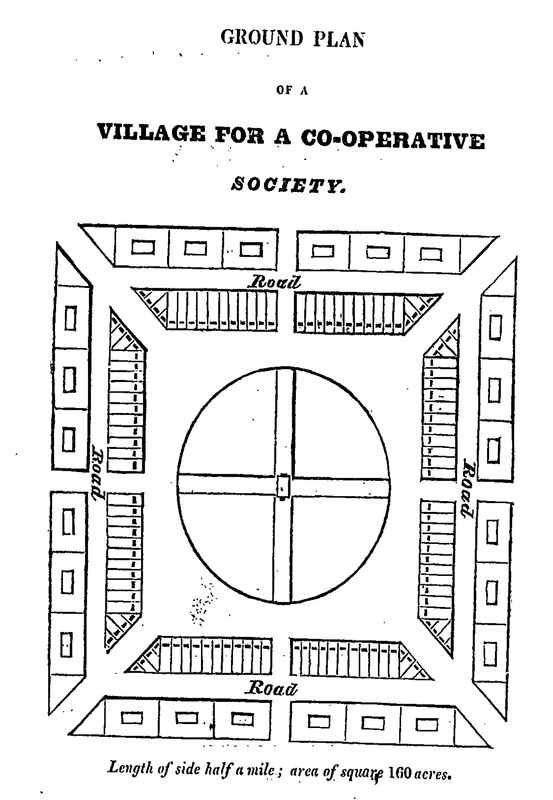 A more modest plan for an Owenite cooperative village at New Harmony, from William Herbert, A Visit to the Colony of Harmony, in Indiana (London, 1825)