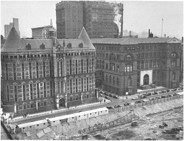 The Second Tombs (left) on the future site of Collect Pond Park, and the Criminal Courts Building (right) [Dover Publishing]