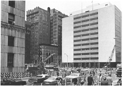 The former parking lot on the site of Collect Pond Park in the 1970's, with the current Civil Court Courthouse at 111 Centre Street one block uptown.
