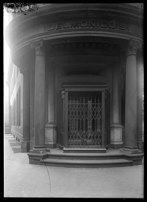 Delmonico's, date unknown (c. 1890–1917): Robert L. Bracklow Photograph Collection, New-York Historical Society. This photograph depicts the entrance to Delmonico's, arguably New York City's most prominent restaurant in the 19th century