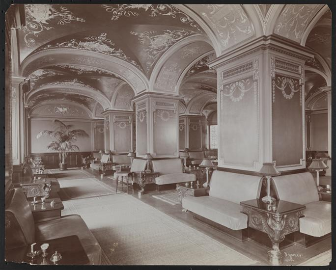 Smoking room, Lawyers' Club, 1902: Byron Collection, Museum of the City of New York. The lavishly-decorated smoking room of the Lawyers' Club was one of several club rooms, besides the dining room, provided for members and their guests. The Byron Collection includes several other behind-the-scenes photographs of the Lawyers' Club, as well.