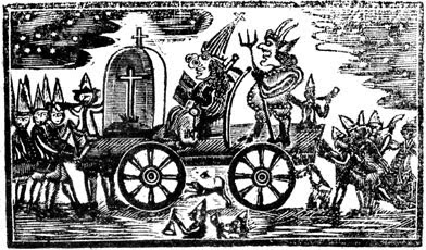 A 1769 woodcut of Pope Night celebrations in Boston