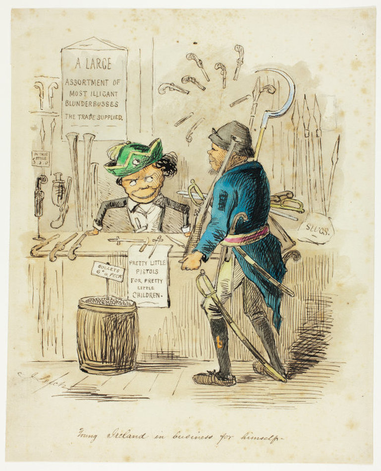 A 1846 cartoon from the British periodical Punch. The cartoonist portrayed the Young Irelanders as both threatening and ridiculous. Almost a decade later in New York, both the Know Nothings and Hughes would try to paint the same image of the Irish nationalists.