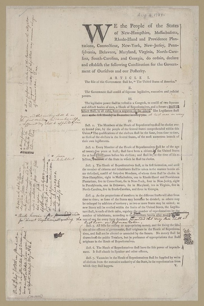 Draft United States Constitution: Report of the Committee of Detail, August 6–September 8, 1787. Printed document with annotations by Alexander Hamilton. Alexander Hamilton Papers, Manuscript Division, Library of Congress