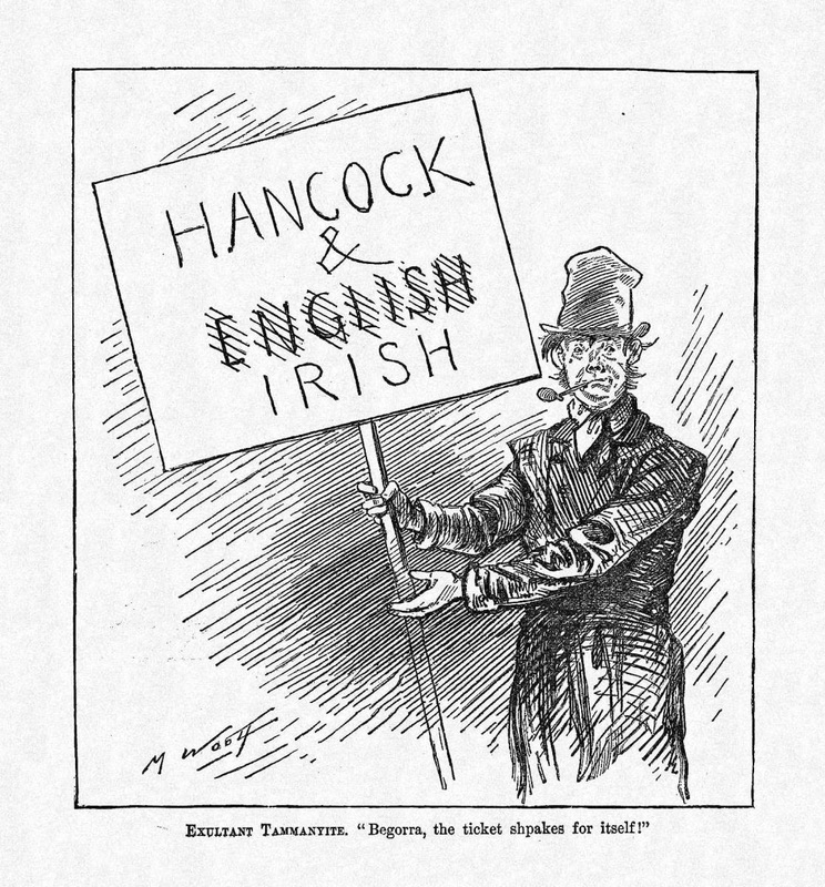 "Michael Angelo Woolf, ""Exultant Tammanyite."" Harper's Weekly October 30, 1880."