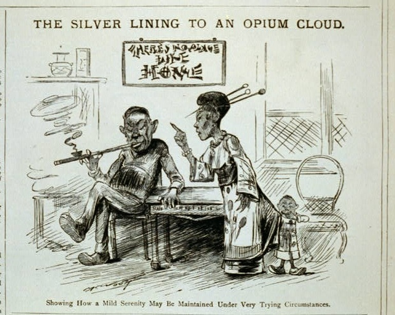 """Michael Angelo Woolf, """"The Silver Lining to an Opium Cloud."""" Puck, August 12, 1885."""