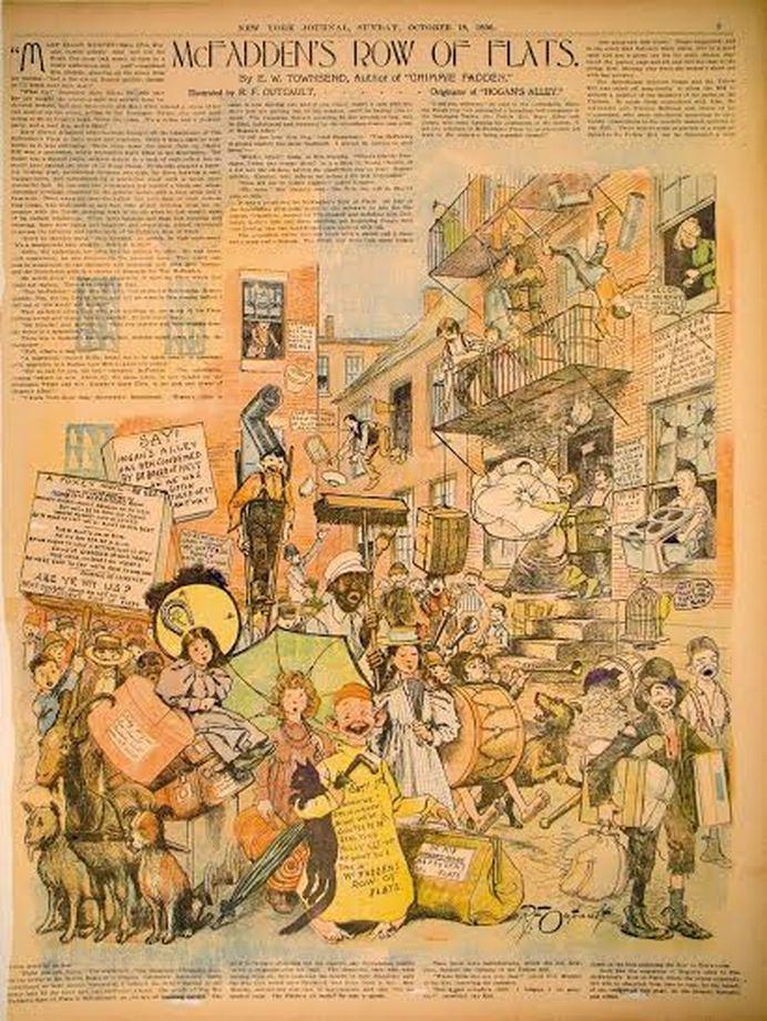 """R.F. Outcault, """"MacFadden's Row of Flats."""" New York Journal, October 18, 1895."""