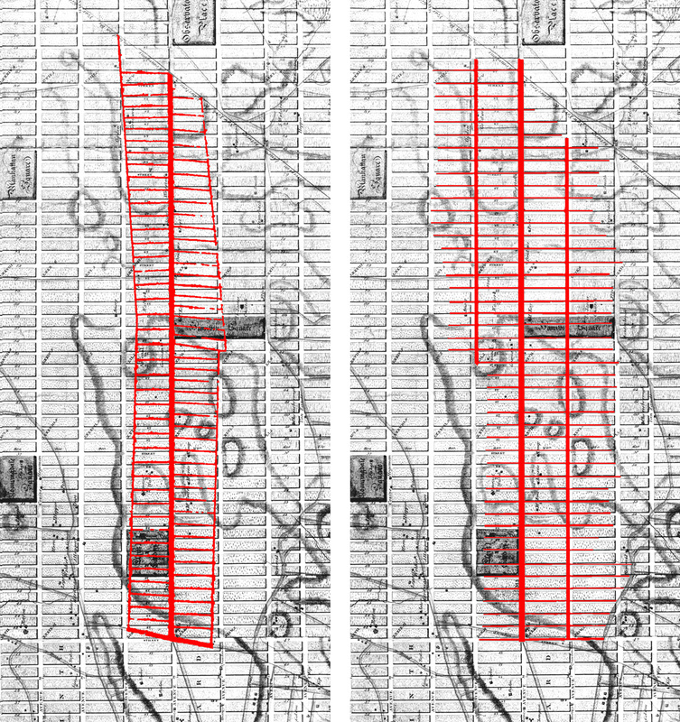 """Left: Goerck's 1785 plan for the Commons (""""grid"""" section only) overlaid on Bridges' 1811 engraving of the commissioners' map; Right: Goerck's 1795 plan (again, grid section only), also overlaid on Bridges' map."""