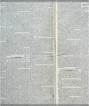 """""""Publius"""" (James Madison), The Federalist No. 10, New-York Journal. These 85 essays appeared first in the newspapers of New York City, and then other states, as part of the ratification debate. (Image: New-York Historical Society)"""
