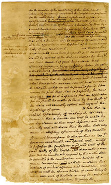 New York Convention, 1788 Circular Letter, Draft in John Jay's hand [Poughkeepsie, N.Y., July 26, 1788]. (New-York Historical Society Library, Department of Manuscripts, McKesson Papers.) When the New York State Convention voted 30 to 25 to ratify the Constitution, it also voted unanimously to prepare a circular letter to the other states, asking them to support a second general convention to consider amendments to the document. This draft letter was reported by John Jay, in his handwriting, with revisions by Alexander Hamilton and John Lansing Jr. The circular was printed in seven New York newspapers and in more than 30 newspapers in other states.