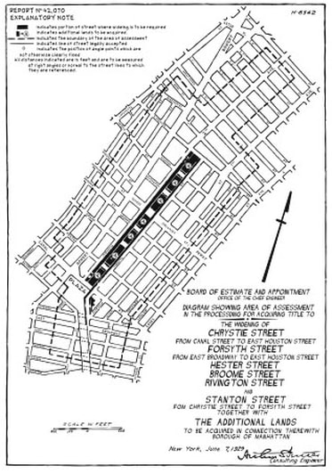 Board of Estimate plan for Chrystie-Forsyth Streets, 1929. East Side Chamber News (July 1929).