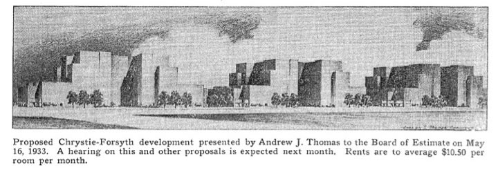 Andrew J. Thomas, Proposed Chrystie-Forsyth Development, 1933. East Side Chamber News vol. 6 no. 5 (May 1933).